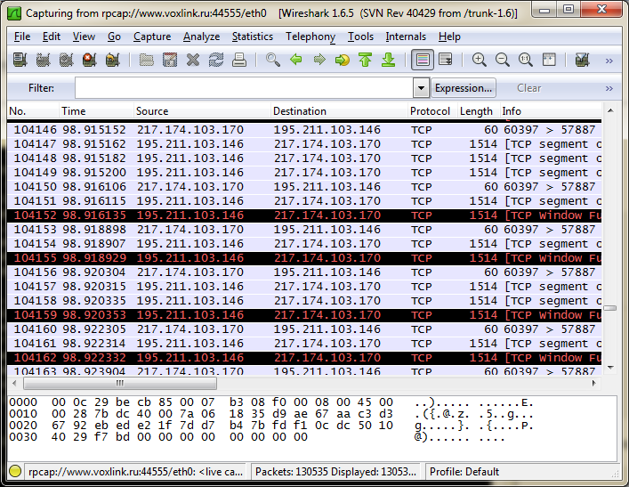 Wireshark rpcapd