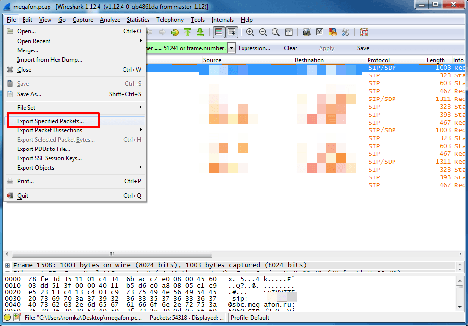 File – Export Specified Packets. Wireshark