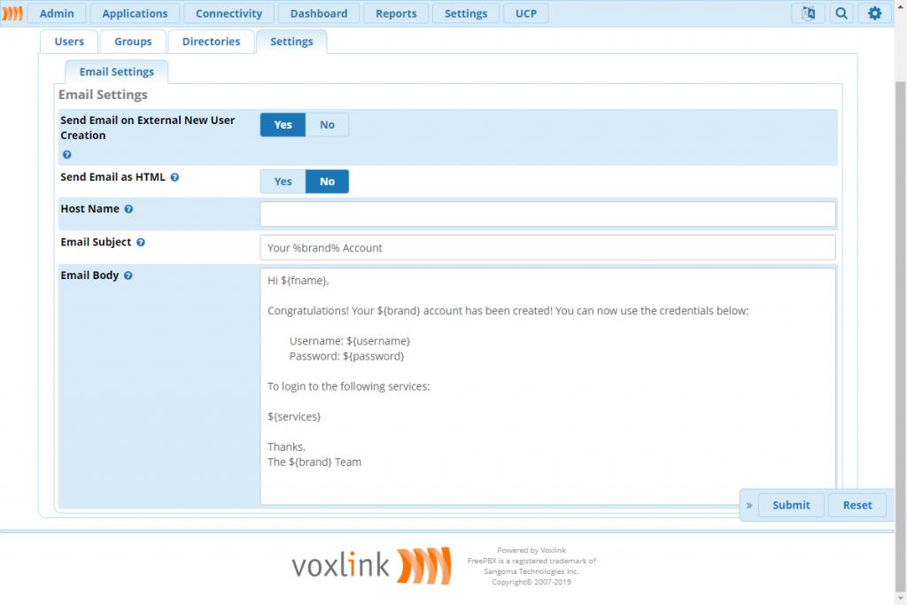 Закладка «Настройки» в модуле User Manager.