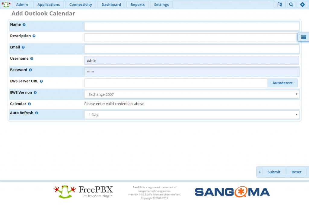 Форма создания Outlook Calendar