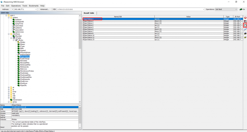 Значение OID в MIB браузере.