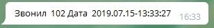 Пример сообщения о пропущенном звонке, отправленного ботом в telegram