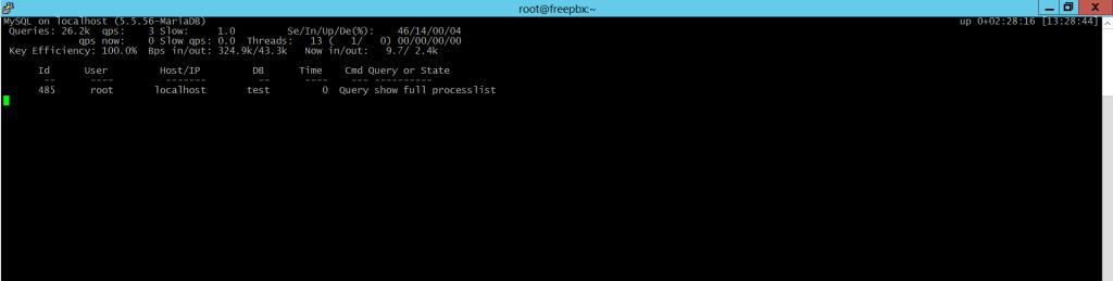 На скриншоте параметр idle установлен в в значение «0». Спящие процессы не отображаются.