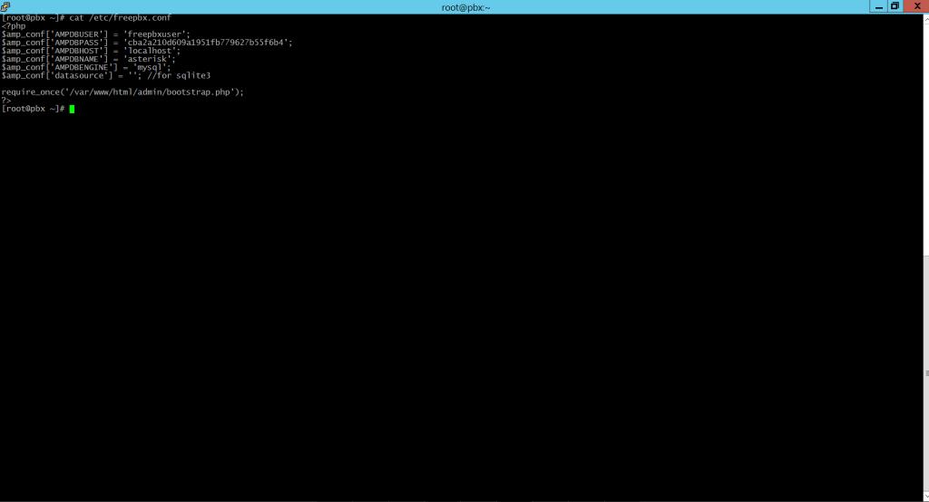 Вывод пароля от пользователя freepbxuser базы данных mysql