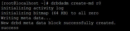 Успешное создание DRBD ресурса.