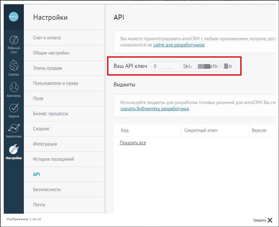 копирование своего API ключа