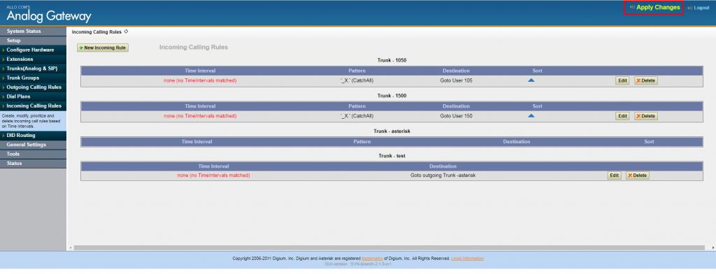 Применение внесенных изменений для входящей маршрутизации