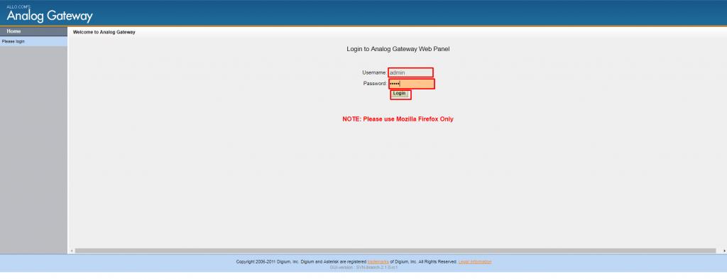 Авторизации в WEB панели конфигурирования платы