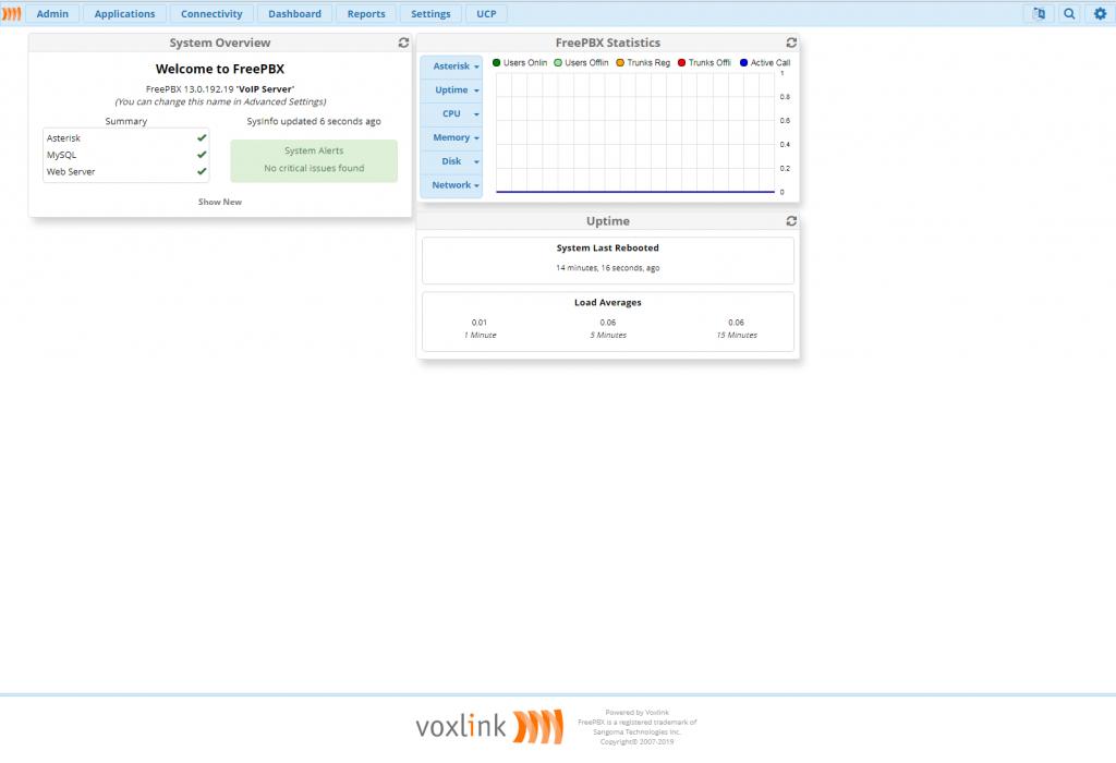 Главная страница интерфейса администрирования FreePBX