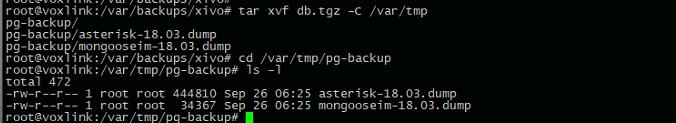 извлечь содержимое файла db.tgz в /var/tmp