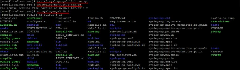 Распаковываем архив исходников syslog-ng