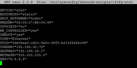 Редактирование конфигурационного файла /etc/sysconfig/network-scripts/ifcfg-eth0