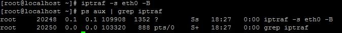 Iptraf в фоновом режиме, с указанием интерфейса eth0