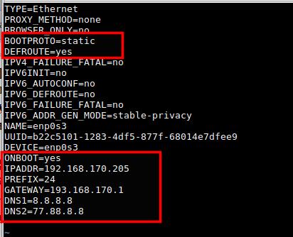 Пример файла конфигурации сетевого интерфейса