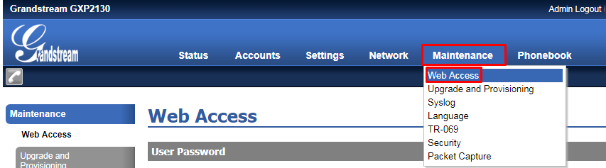 Menu Web Access
