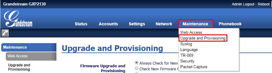 Menu Upgrade and Provisioning