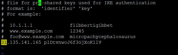 Указание ключа IPSEC