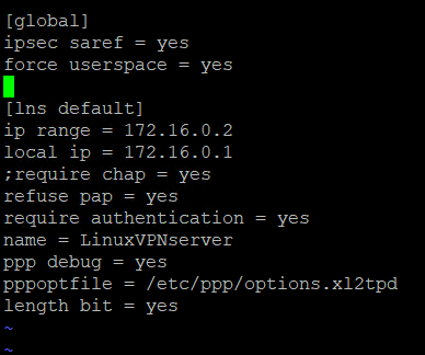 Конфигурационный файл l2tp