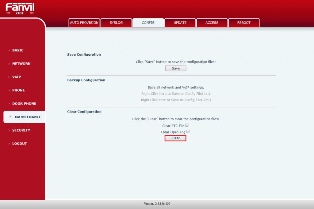 Сброс настроек из web-интерфейса