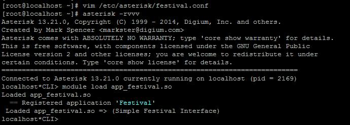 Загрузка модуля Festival в Asterisk