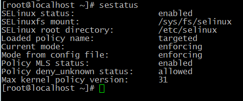 Включенный Selinux