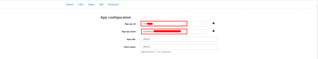 APP ID и API HASH