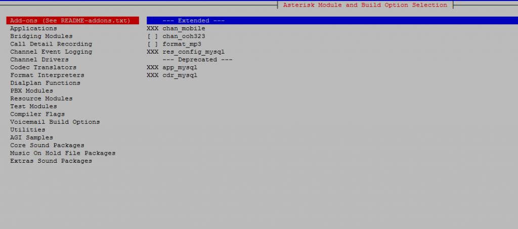 Окно выбора выбора модулей для конфигурирования
