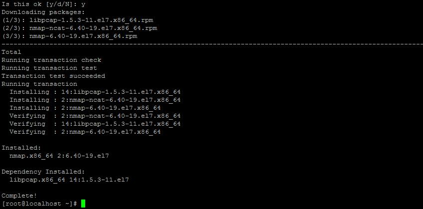 пример вывода сканирования сети