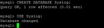 Создание базы данных rsyslog
