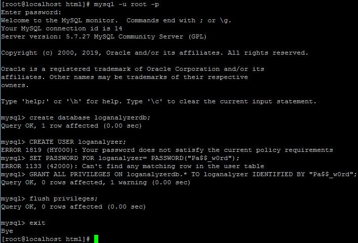 Создание базы данных LogAnalyzer