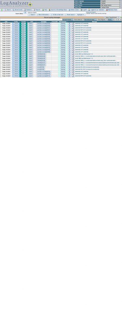 Применен фильтр – отображение сообщений только хоста client1