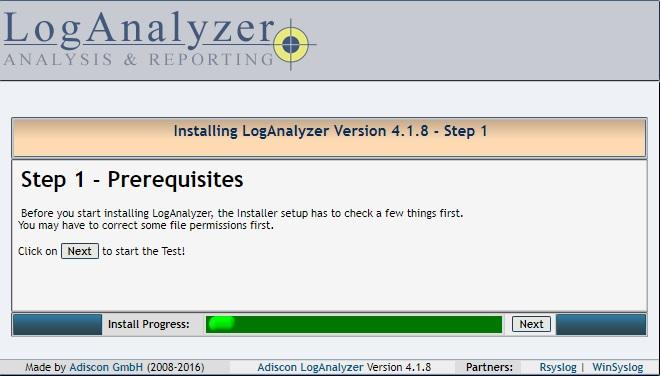 Installing LogAnalyzer - Step 1