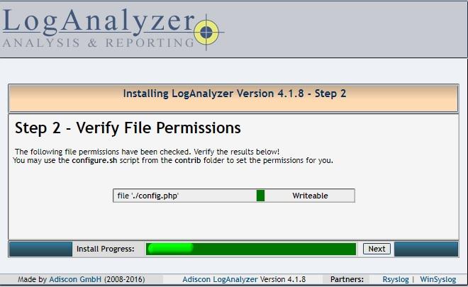 Installing LogAnalyzer - Step 2