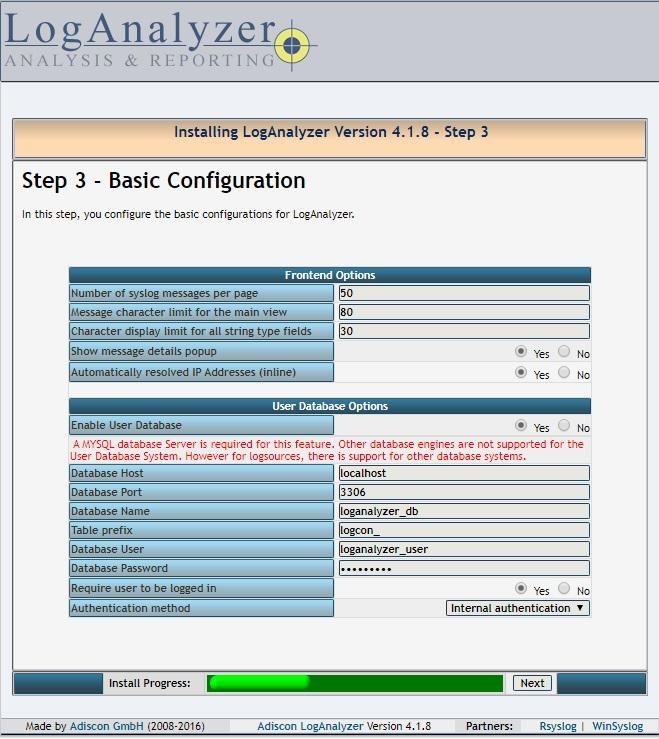 Installing LogAnalyzer - Step 3