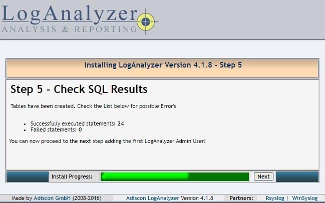 Installing LogAnalyzer - Step 5