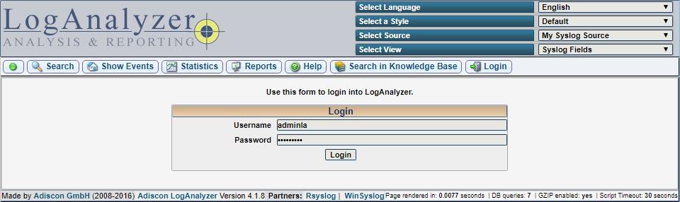 Авторизация LogAnalyzer