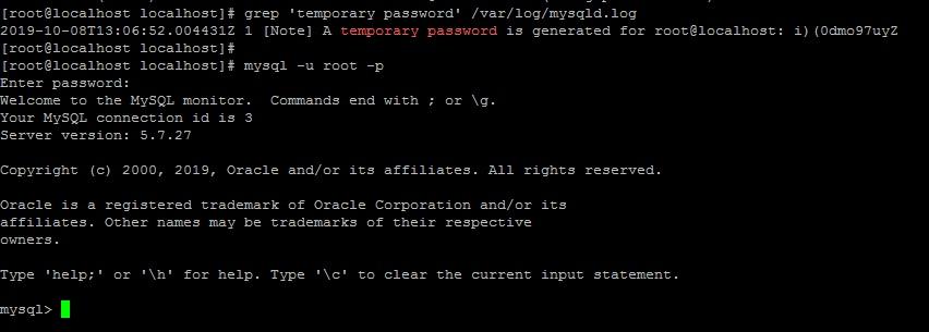 Вход с временным паролем для root в консоль mysql