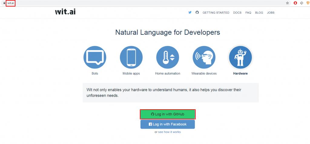 Регистрация в wit.ai с помощью GitHub