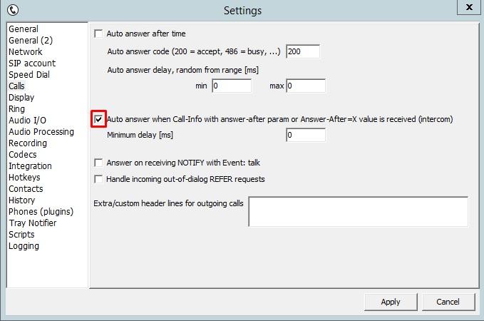Настройка параметров auto answer в tSIP