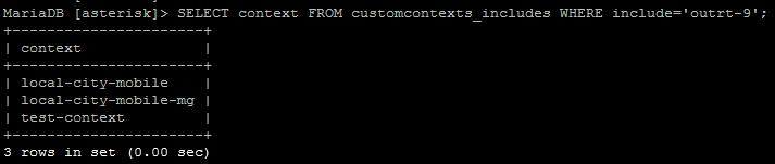 Проверка нахождения маршрута outrt-9 в контекстах