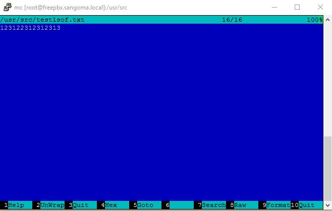 открытие файла командером
