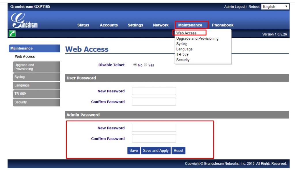 Изменение пароля по умолчанию