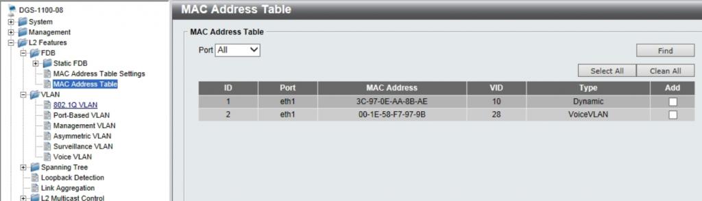 Проверка результата в таблице mac-адресов