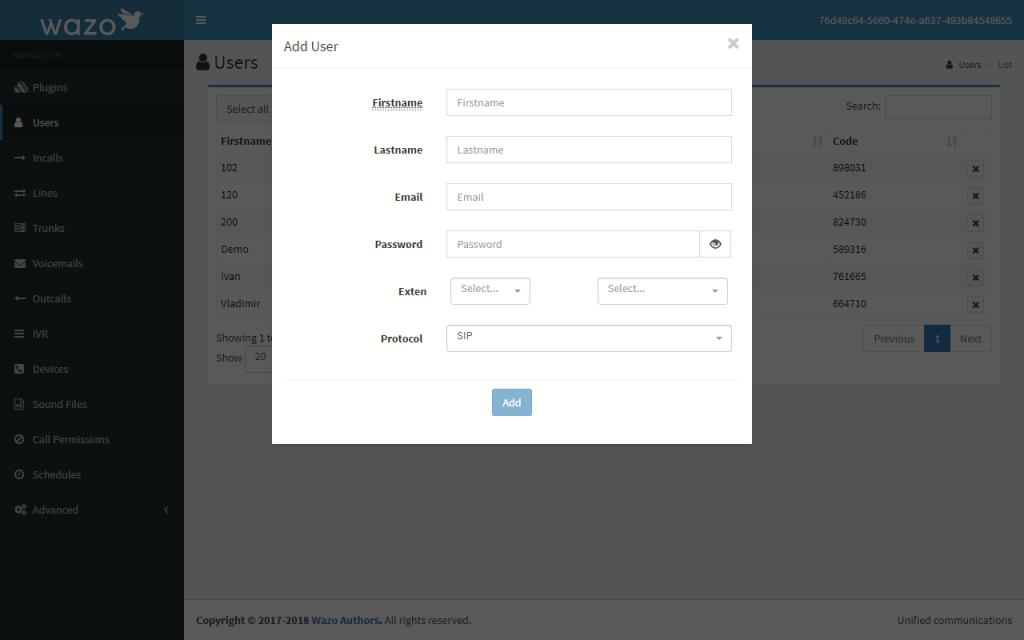 Редактирование настроек нового пользователя