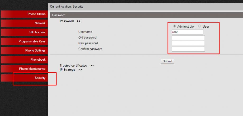 Изменение логина и пароля по умолчанию