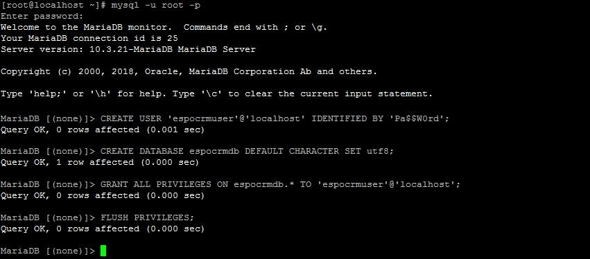 Создание базы данных и пользователя для espocrm