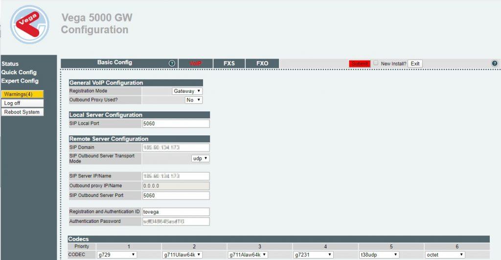 Vega Quick Configuration - VoIP