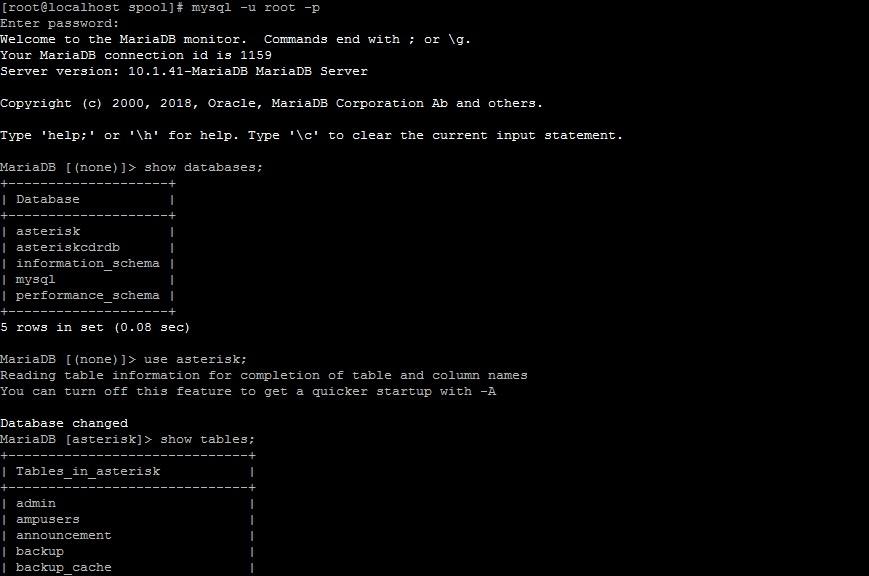 Вход в консоль mysql и выбор базы