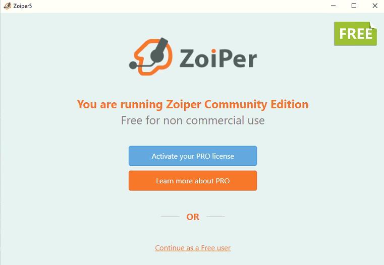 Первый запуск Zoiper