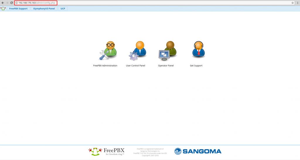 WEB панель FreePBX.